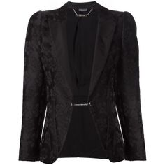 Alexander McQueen floral jacquard blazer ($5,080) ❤ liked on Polyvore featuring outerwear, jackets, blazers, black, floral print blazer, jacquard blazer, long sleeve jacket, black jacket e alexander mcqueen