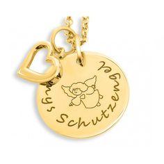 Wunderschöne Kette aus 925 Sterling Silber hochwertig vergoldet. Neben dem Gravurplättchen hänge ein zauberhaftes kleines Herz.