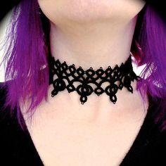 Collar de gargantilla de encaje tatted diadema