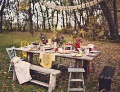 100% perfect, rustic, charming, mix-matched, early autumn, outdoor dinner tablescape.