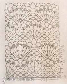 Ажурные ракушки крючком. Схема вязания узора