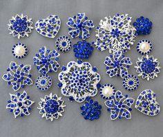 10 Royal Dark Blue Rhinestone Button Brooch by yourperfectgifts