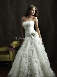 Organza strapless ruffles lace-up floral wedding dress