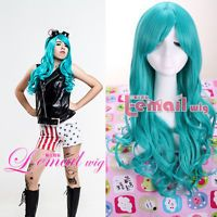 60cm Long Dark Turquoise Wavy Curly Hair Cosplay Wigs+A Free Wig Cap CW182A