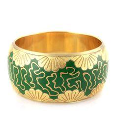 Green & Gold Foil Flower Bangle