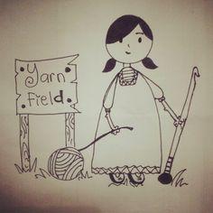 Crochet. Yarn field. Doodle.