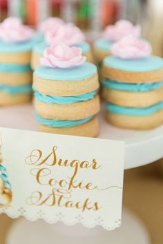 Sugar cookie stacks at a Peter Rabbit birthday party! See more party planning ideas at CatchMyParty.com!