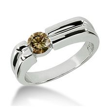 Champagne Brown Diamond Solitaire Wedding Pinky Ring