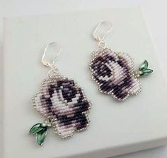Head Beaded Miyuki Seed Bead Lavender Rose Earrings with Swarovski Leaf Accents