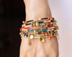Pulsera étnica cal verde grano afgano por monroejewelry en Etsy