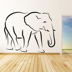 Your wall sticker will be custom made in the UK using premium matt vinyl, contour cut, without transparent or white edges and comes with a 5 year guarantee. Supplied in one piece, making your sticker quick and easy t Elephant Template, Elephant Outline, Animal Outline, Elephant Art, Elephant Tattoos, African Wall Art, Wall Stickers Animals, Poppies Tattoo, Outline Drawings