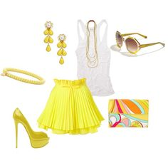 Here comes the sun!  Emilio Pucci clutch, Candy Skirt by Jones and Jones, Kate Spade earings