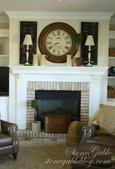Stone Gable's done it again - LOVE her mantel with the shutters and clock!!!  Perfection, not too cluttered.... just perfection!