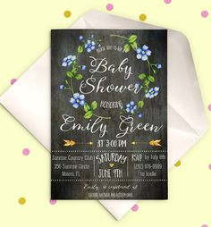 Baby Shower Invitation Blue Floral  Baby Shower by AlniPrints
