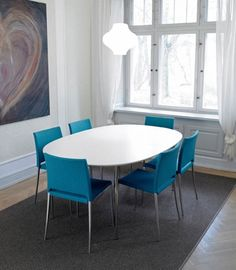 andersen dining table with blue dining chairs Dining Chairs, House, Furniture, Home Decor, Decoration Home, Home, Room Decor, Dining Chair, Home Furnishings
