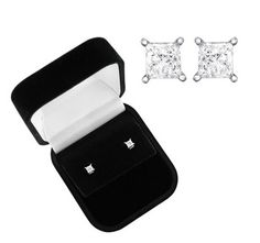 $134.99 - 1/3 Carat Princess Cut Diamond 14K White Gold Certified Stud Earrings