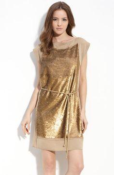 gold sequin box dress