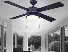 Turn of the century strathmere 52 matte black ceiling fan features turn of the century latitude 52 matte black contemporary ceiling fan with four ebony blades and frosted white glass bowl mozeypictures Image collections