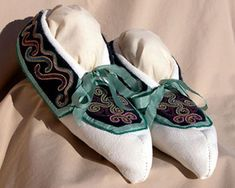 My Cherokee moccasins made by Cherokee bead work artist Martha Berry when Doug and I married November 19, 2005.