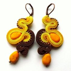 yellow and brown earrings