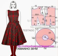 Pattern Draft And Instructions For: Easy To Make Dress. Looks Like 1950's Style.  From http://moldesedicasmoda.blogspot.pt/