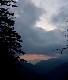 Beautiful sunset and Newfound Gap road in Tennessee