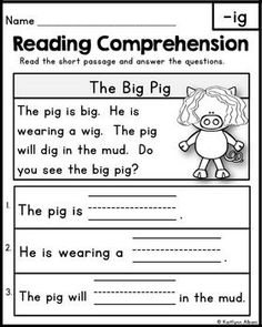 math worksheet : kindergarten reading comprehension passages  set 1 freebie  : Reading Comprehension Worksheets For Kindergarten Free