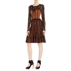 BCBGMAXAZRIA - PRINTS: KAYLA CHEVRON JACQUARD DRESS