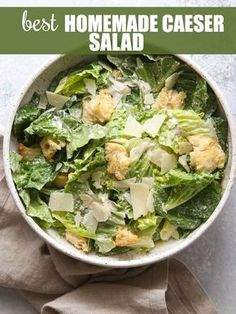 The Best Homemade Caesar Salad - Completely Delicious Woman Dresses pioneer woman caesar dressing Lettuce Salad Recipes, Side Salad Recipes, Salad Dressing Recipes, Cesar Dressing, Green Salad Recipes, Homemade Ceasar Salad, Sauces, Recipes, Healthy Recipes