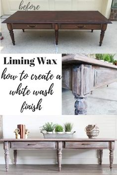 Lime Washed Coffee Table Makeover with Liming Wax This is a quick tutorial on how to lime wash or lime wax a piece of wood. I've included a video tutorial with a lime washed coffee table makeover. Furniture Makeover, Diy Home Decor, Bedroom Furniture Makeover, White Washed Furniture, Liming Wax, Coffee Table Makeover, Coffee Table Wood, Coffee Table, Home Decor