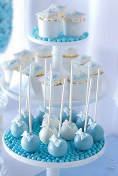 A gorgeous Christening and Birthday for Jayden. All Styling by A Party Candy Buffet and Party Supplies Cake Pops, Cake, cookies and cupcakes Rubiez'n'Cream Macarons Macaroned printable designs by Top That All photography by Photography by Sandra Blue Cake Pops, Blue Cakes, Baby Shower Treats, Baby Shower Cake Pops, Fiesta Baby Shower, Baby Boy Shower, Cake Pop Displays, Baby Shower Decorations For Boys, Birthday Decorations