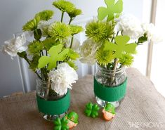 St. Patrick's Day Centerpieces | Saint Patrick's day centerpiece | For The Love Of Mason Jars