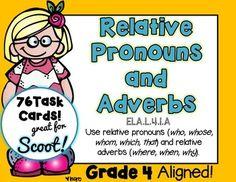 Relative Pronouns Task Cards by Rock Paper Scissors Relative Pronouns, Teacher Helper, Fourth Grade, Second Grade, Adverbs, Teaching Grammar, Teaching Writing, Teaching Resources, Teacher Newsletter