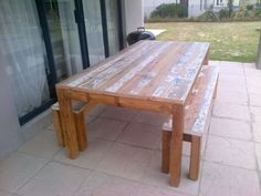 Seats Recycled and reclaimed wood with natural legs. with benches Custom Made Furniture, Furniture Design, Scaffolding Wood, Door Table, Timber Door, French Oak, Rustic Table, Outdoor Furniture, Outdoor Decor