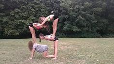 easy acro stunt for 3 people  yoga poses yoga challenge