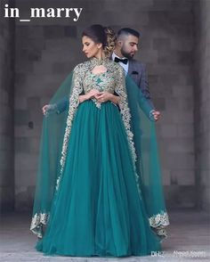 Abayas Kaftan Muslim Caped Long Evening Gowns 2017 A Line High Neck Gold Lace Appliques Hunter Green Plus Size Beaded Turkish Prom Gowns Muslim Evening Dresses Plus Size Evening Dresses 2017 Evening Dresses Online with $214.86/Piece on In_marry's Store | DHgate.com