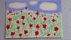 Poppies in the wind.  Oil and chalk pastels