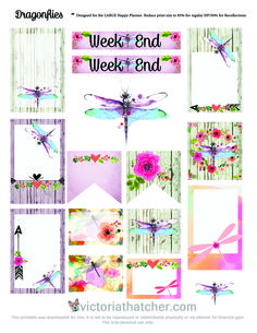Free Printable Dragonflies Planner Stickers from Victoria Thatcher To Do Planner, Planner Layout, Free Planner, Happy Planner, Printable Planner Stickers, Free Printables, Journal Stickers, Planner Organization, Organizing