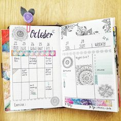 New bullet journal weekly layout. I'm in love with this page spread, it looks so clutter free. Hand drawn mandalas and washi strips from Will definitely be doing more layouts like this one. Bullet Journal Uk, Bullet Journal Weekly Layout, Bullet Journal Printables, Bullet Journal Junkies, Journal Template, Bullet Journal Spread, Bullet Journal Inspiration, Journal Ideas, Journal Prompts