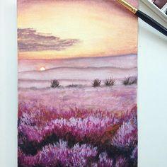 Painting Lavender Fields using @winsorandnewton Cotman Watercolours #winsornewton #winsorandnewton #watercolor #watercolorart #watercolorpainting #lavenderfields #cotman #lavender #sunsetpainting
