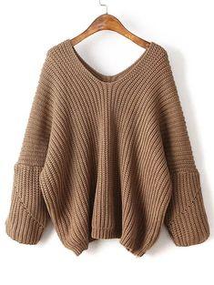 Shop Coffee V Neck Drop Shoulder Oversized Sweater