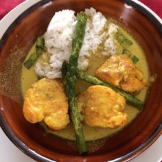 #curry of #monkfish and grilled #asparagus