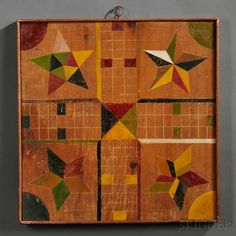 Paint-decorated Checkers/Parcheesi Game Board | Sale Number 2680B, Lot Number 18 | Skinner Auctioneers