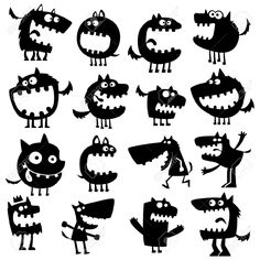 Funny Animals Royalty Free Cliparts, Vectors, And Stock Illustration. Cartoon Monsters, Cute Monsters, Little Monsters, Silhouette Clip Art, Animal Silhouette, Silhouette Projects, Silhouette Cameo Freebies, Free Cliparts, Monster Art