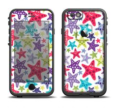 The Smiley Faced Vector Colored Starfish Pattern Apple iPhone 6/6s Plus LifeProof Fre Case Skin Set from DesignSkinz
