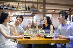 Stock Photo : Friends having dinner together