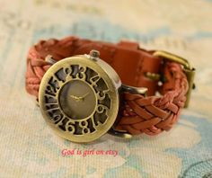 Leather woven casual watch threedimensional dial by Godisgirl, $10.99