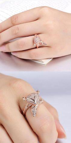 Cute Fox Lover Silver Rose Gold Animal Diamond Open Ring for big sale ! #fox #cute #lover #rose #gold #accessories