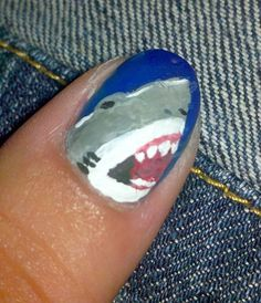 shark week nails. Maybe this is easier than it looks...