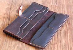 handstitch mens long leather wallet women's long by abbycraftshop